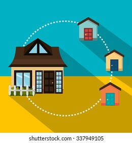 Real estate business and profits, vector illustration graphic
