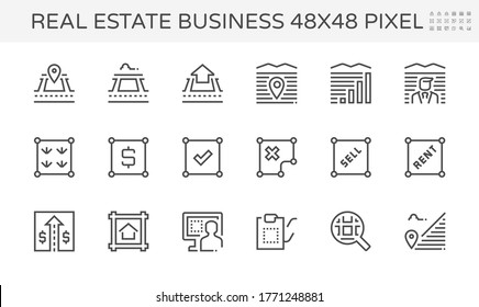 Real estate business vector icon. Include house, residential building. Land plot, land lot, map, boundary, pin, location and area for navigation. Tract of land for owned, sale, rent, buy, development.