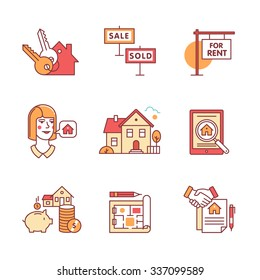 Real estate buying, selling and renting signs set. Thin line art icons. Flat style illustrations isolated on white.