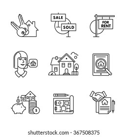 Real estate buying, selling and renting signs set. Thin line art icons. Linear style illustrations isolated on white.
