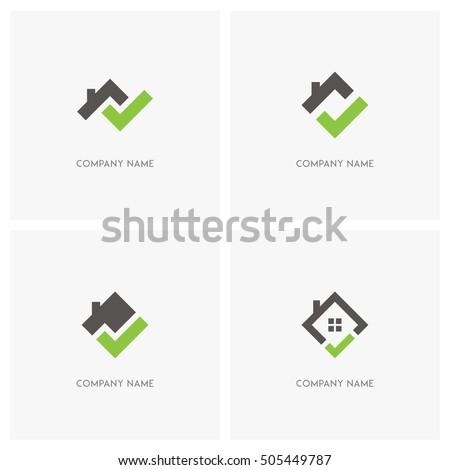 vetor stock de real estate check mark vector logo livre de direitos