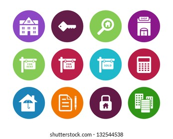 Real Estate circle Icons on white background. Vector illustration.