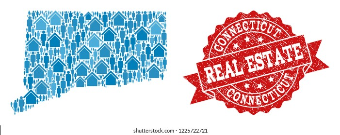 Real Estate collage of blue mosaic map of Connecticut State and rubber seal stamp. Vector red imprint with scratched rubber texture.