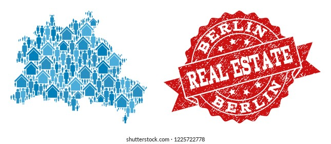 Real Estate collage of blue mosaic map of Berlin City and rubber seal. Vector red watermark with unclean rubber texture. Mosaic map of Berlin City constructed with realty and population.
