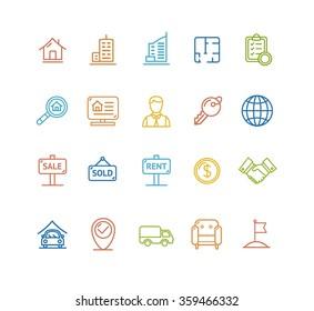 Real Estate  Colorful Outline Icon Set. Vector illustration