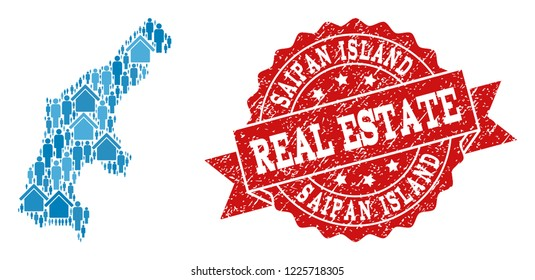 Real Estate combination of blue mosaic map of Saipan Island and rubber stamp. Vector red imprint with distress rubber texture. Mosaic map of Saipan Island constructed with properties and population.