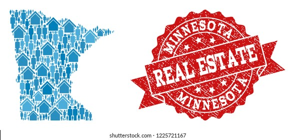 Real Estate composition of blue mosaic map of Minnesota State and unclean seal. Vector red imprint with unclean rubber texture. Mosaic map of Minnesota State designed with properties and population.