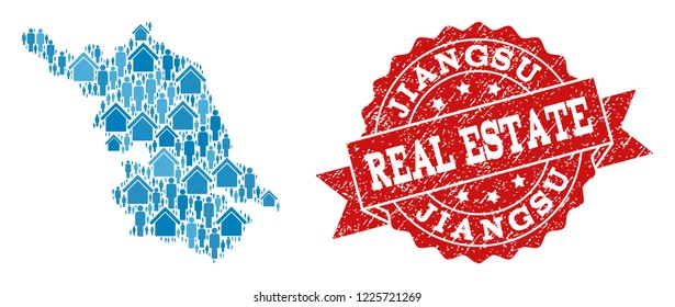 Real Estate composition of blue mosaic Map of Jiangsu Province and grunge seal. Vector red imprint with grunge rubber texture. Mosaic Map of Jiangsu Province constructed with buildings and persons.