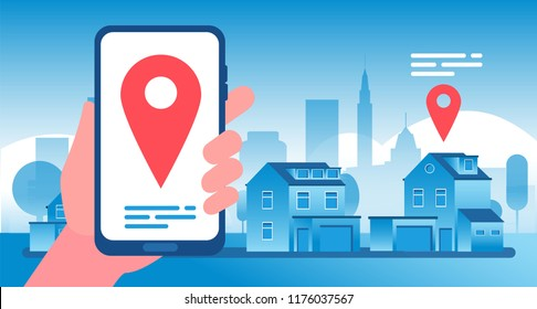 Real estate concept. Buying, selling and renting real estate and apartment network marketing agency. Advertisement vector background. Home rent property, illustration of apartment navigation position