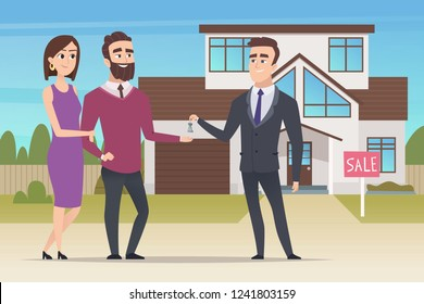 Real estate concept. Family couple buying new house or big appartment sales manager hands over the keys vector characters