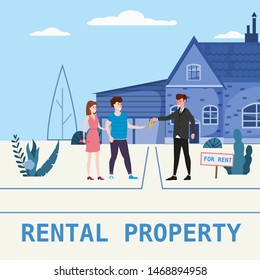 Real estate concept. House rent service. Modern family characters rent new house or big appartment sales manager hands over the keys. Realtor gives keys to family from new home. Broker services