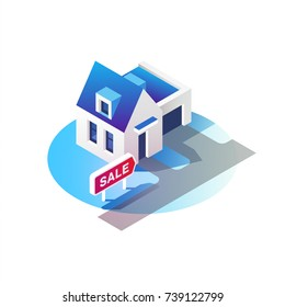 Real estate concept. House for sale. Isometric vector illustration.