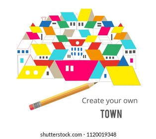 Real estate concept - houses drawing and pencil illustration, vector graphic