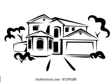 real estate, concept illustration in black lines