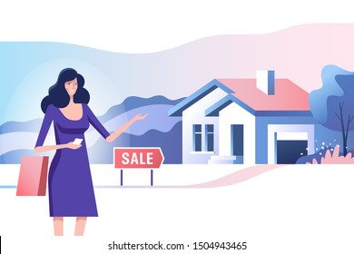Real estate concept. Realtor and house for sale. Bying and selling property. Vector illustration.