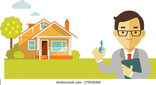 Real estate concept realtor man with key on house background in flat style