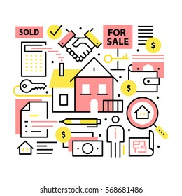 Real estate concept. Realty purchase, sale and moving collage. Modern thin line art icons background. Linear style illustrations isolated on white.