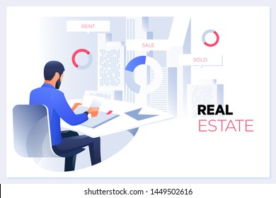 Real Estate Concept.Real estate agent or broker concept. Big house sale offering. Flat vector illustration
