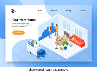 Real Estate or Construction Company, Home Moving Service Isometric Vector Web Banner, Landing Page. Couple Painting Wall in Their New House or Apartment After Relocation, Truck with Stuff Illustration