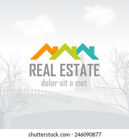 Real estate, construction, ecology, outdoor recreation vector logo design template. The icon on the eroded landscape.