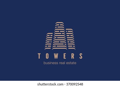 Real Estate Construction Logo design vector template. Skyscrapers silhouette city buildings.
