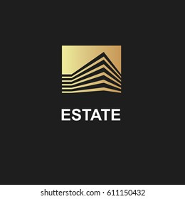 Real Estate Construction Logo design vector template.Commercial office property business center Financial Logotype. Corporate Finance Resort identity icon.