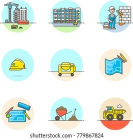 Real Estate Construction- Multicolor Icon Set