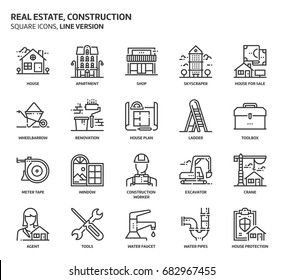 Real estate and construction, square icon set. The illustrations are a vector, editable stroke, thirty-two by thirty-two matrix grid, pixel perfect files. Crafted with precision and eye for quality.