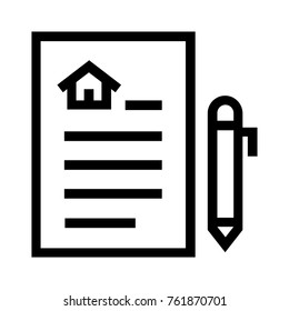 Real estate contract flat icon. Linear vector illustration of tenancy agreement or rental policy concept, next to a pen. Isolated on white background.