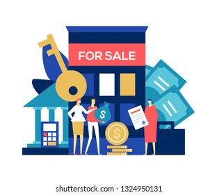 Real estate deal - colorful flat design style illustration on white background. A composition with a couple, wife and husband buying a house, apartment, making payment, an agent holding a contract