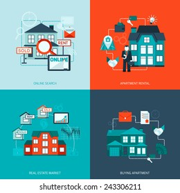 Real estate design concept set with online search apartment rental market buying flat icon isolated vector illustration
