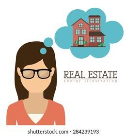 Real Estate design over white background, vector illustration