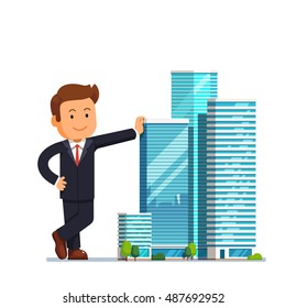Real estate developer entrepreneur concept. Business man owner of skyscraper buildings property standing and leaning to them. Modern flat style vector illustration isolated on white background.