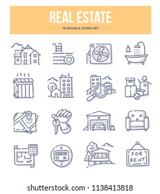 Real estate doodle vector icons for website and printing materials
