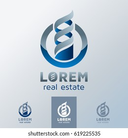 Real estate emblem, 3d logo for construction or property company, vector illustration.