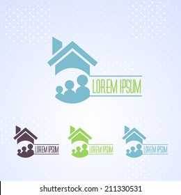 Real Estate and Family Vector Icons, Logos, Sign, Symbol Template
