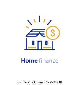 Real estate financial concept, rental house, mortgage down payment, home insurance, living expenses, property sale, vector line icon