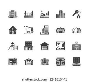 Real estate flat glyph icons set. House sale, commercial building, country home area, skyscraper, mall, kindergarten vector illustrations. Infrastructure signs. Solid silhouette pixel perfect 64x64.
