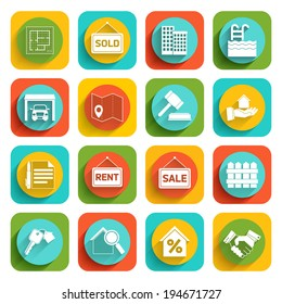 Real estate flat icons set of house valuation commission and searching isolated vector illustration