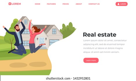 Real estate flat landing page template. Young people, husband and wife moving to house website, webpage vector layout. Cheerful family couple cartoon characters jumping outside new home