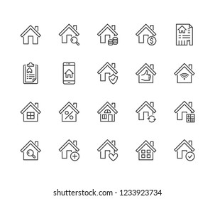 Real estate flat line icons set. House sale, home insurance, mortgage calculator, apartment search app, building renovation vector illustrations. Homepage signs. Pixel perfect 64x64. Editable Strokes.