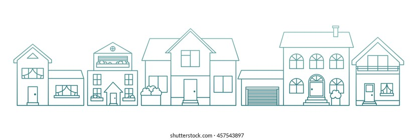 Real estate flat line vector architecture design. Outlined stroke icons of different houses for sale concept. Property investment, buy, sell, rent house, apartment. For poster, web, banner, header.