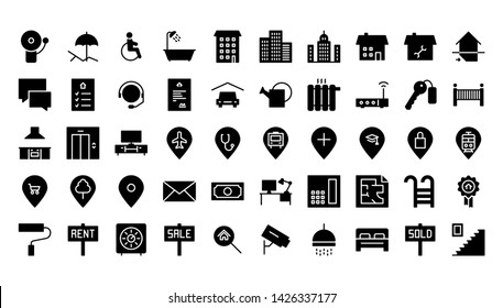 real estate glyph icon symbol set
