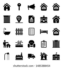 Real estate glyph icons in editable and imagery style.