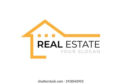Real Estate home building construction company logo design orange and black color flat style vector isolated on white background illustration.