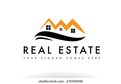 Real estate house home orange black realty realtor construction property residential construction roof logo creative company vector icon design template