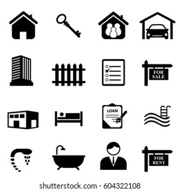 Real estate and house icon set in black