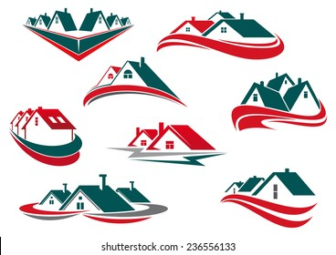Real estate and house icons or symbols for business or construction logo design with green, red roofs and waves