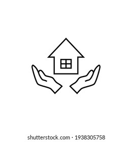 Real estate, house insurance in flat black line style, isolated on white background