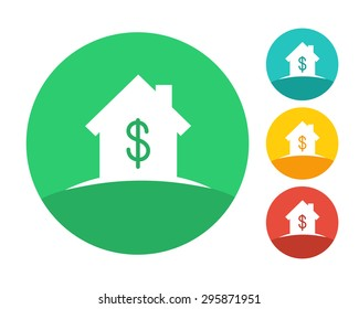 Real estate house logo concept with dollar symbol. Eps10 vector and color set.
